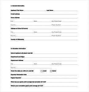 scholarship application template university scholarship application form template