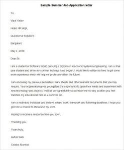 scholarship letter format sample summer job application letter