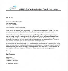 scholarship letter sample sample scholarship thank you letter format