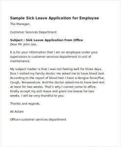scholarship letter samples sick leave application letter