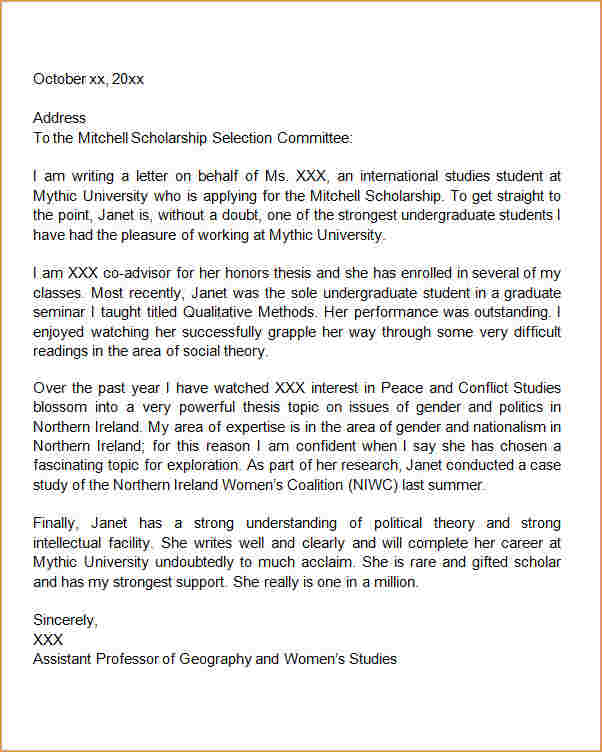 scholarship letters sample