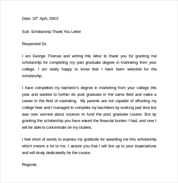 scholarship thank you letters