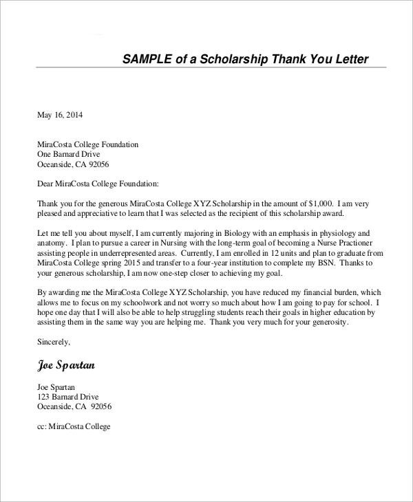scholarship thank you letters sample