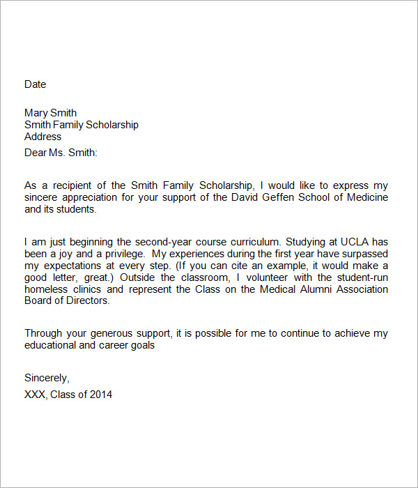 scholarship thank you note