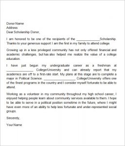 scholarships thank you letter sample thank you letter scholarship donor