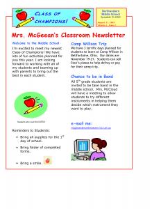 school newsletter templates classroom newsletter template