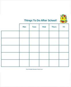 school schedule template printable after school schedule template
