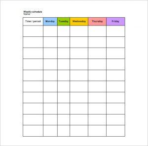 school schedule template school weekly schedule template in word format