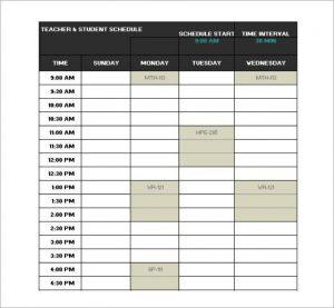 school schedule template standard school schedule template in excel format