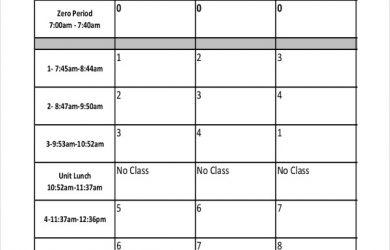 school scheduling template blank high school schedule template