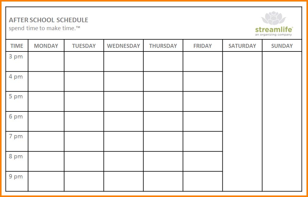 school scheduling template