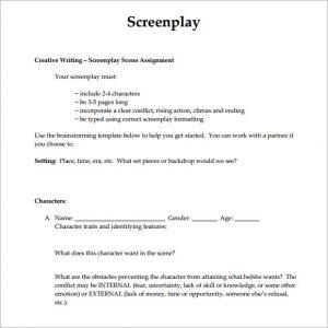screenplay format template screenplay example