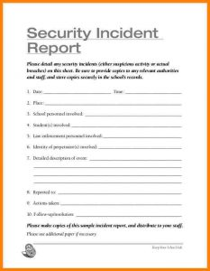 security incident report template security guard incident report template