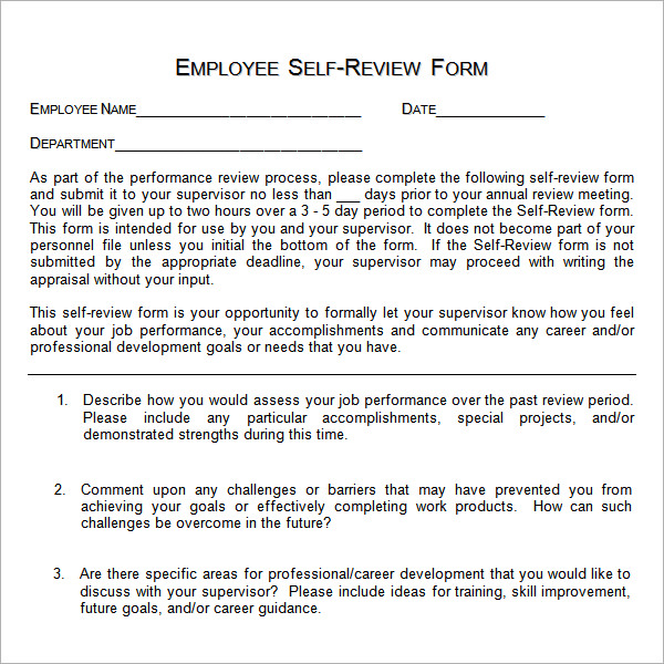 self evaluation examples