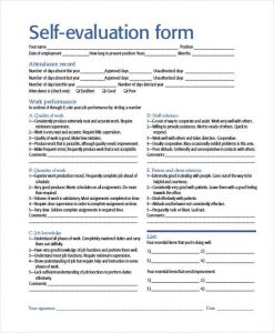 self evaluation examples self evaluation form example
