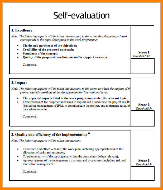 self evaluation sample