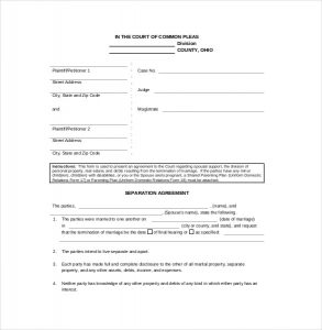 separation agreement template legal separation agreement template