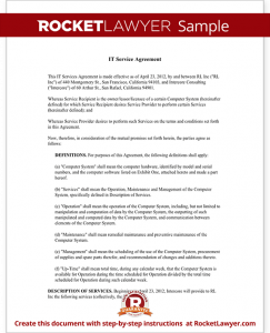 service agreement sample sample it service agreement form template
