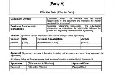 service level agreement template internal service level agreement