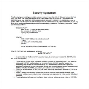 settlement agreement sample security agreement template to download