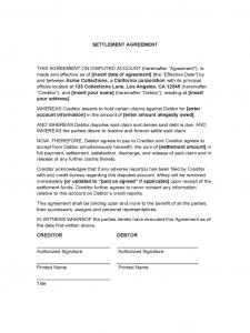 settlement agreement sample settlement agreement d