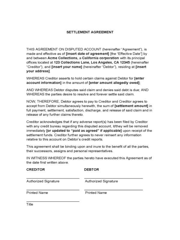 settlement agreement sample
