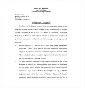 settlement agreement template sample download settlement agreement template