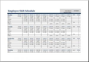 shift schedule template employee shift schedule