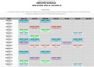 shift schedule template screen shot at pm