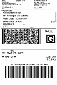 shipping label example x