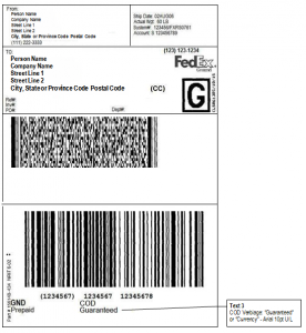shipping label example image