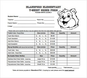 shirt order form blandford element ary t shirt order form template download