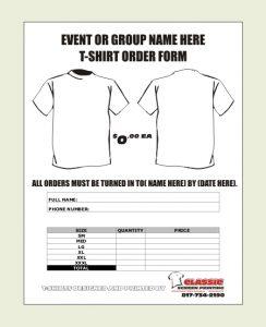shirt order form free shirt order form template