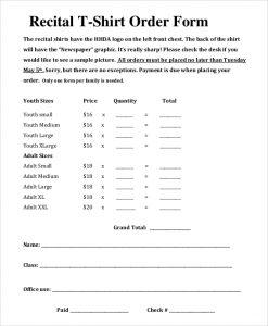 shirt order form recital t shirt order form