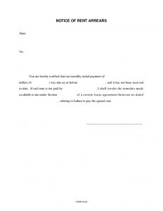 short rental agreement notice of rent arrears
