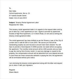 short rental agreement tenancy rental agreement letter