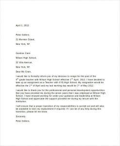 short thank you letter for teacher short resignation letter for teachers