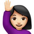shrug emoji android woman raising hand light skin tone