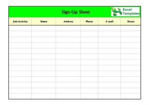 sign in sheet template excel sign up sheet