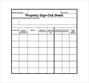sign out sheet property sign out sheet pdf template free download