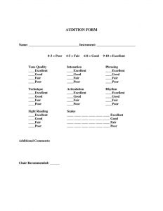 sign up form template audition form
