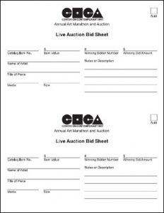 silent auction sheet auction form live