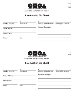 silent auction sheet
