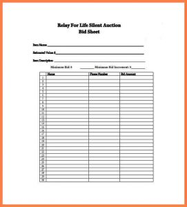 silent auction sheet silent auction form print silent auction bid sheet template