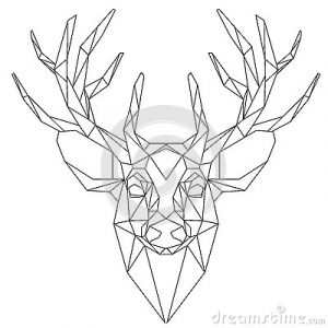 simple business plan outline deer head triangular icon animal geometric trendy line design vector illustration ready tattoo coloring book