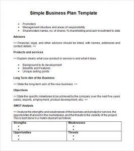 simple business plan simple business plan template word
