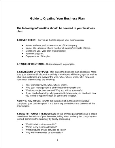 simple business plan template