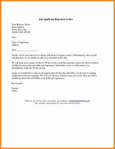 simple employment application application rejection letter template