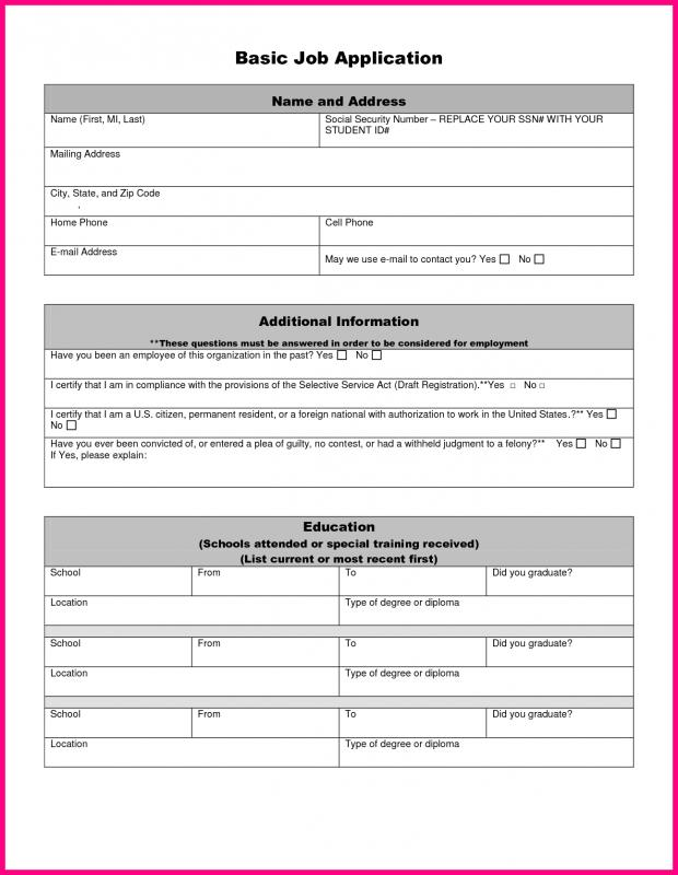 simple employment application