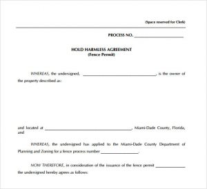 simple hold harmless agreement free hold harmless agreement template